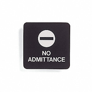 Admittance Sign,5-1/2 x 5-1/2In,WHT/Jade