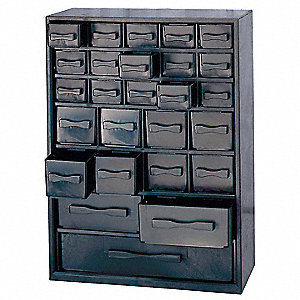 "Drawer Bin Cabinet, 11-1/4"" Overall Height, 12"" Overall Width, Number of Drawers or Bins 30"