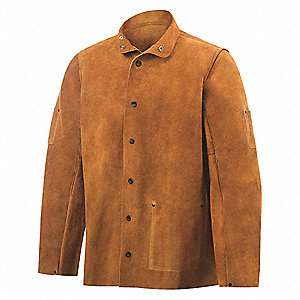 "Brown Cowhide Welding Jacket, Size: L, 30"" Length"