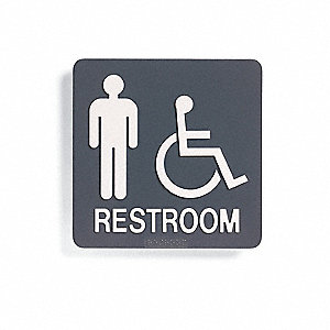 Restroom Sign,8 x 8In,WHT/Dark BR,PLSTC