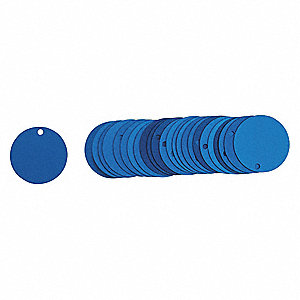 "Blue Blank Tag, Aluminum, Round, 2"" Height, 25 PK"