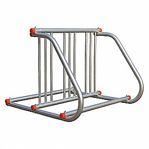 Bike Rack,2-Sided,6-Bike,39-1/2 in.,Slvr