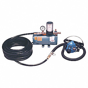 Supplied Air Pump Package, 1/4 HP, People Served: 1, Headgear Included: Half Mask Respirator
