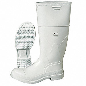 "16""H Men's Knee Boots, Plain Toe Type, PVC Upper Material, White, Size 10"