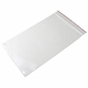 "9""L x 6""W Standard Reclosable Poly Bag with Zip Seal Closure, Clear; 4 mil Thickness"