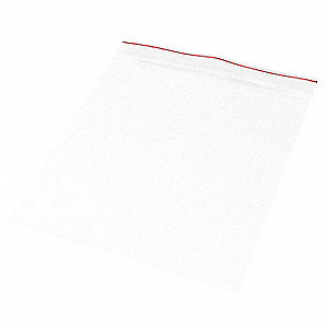 "8""L x 8""W Standard Reclosable Poly Bag with Zip Seal Closure, Clear; 4 mil Thickness"