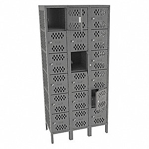 "Gray Box Locker, (3) Wide, (6) Tier , Openings: 18, 36"" W X 18"" D X 78"" H"