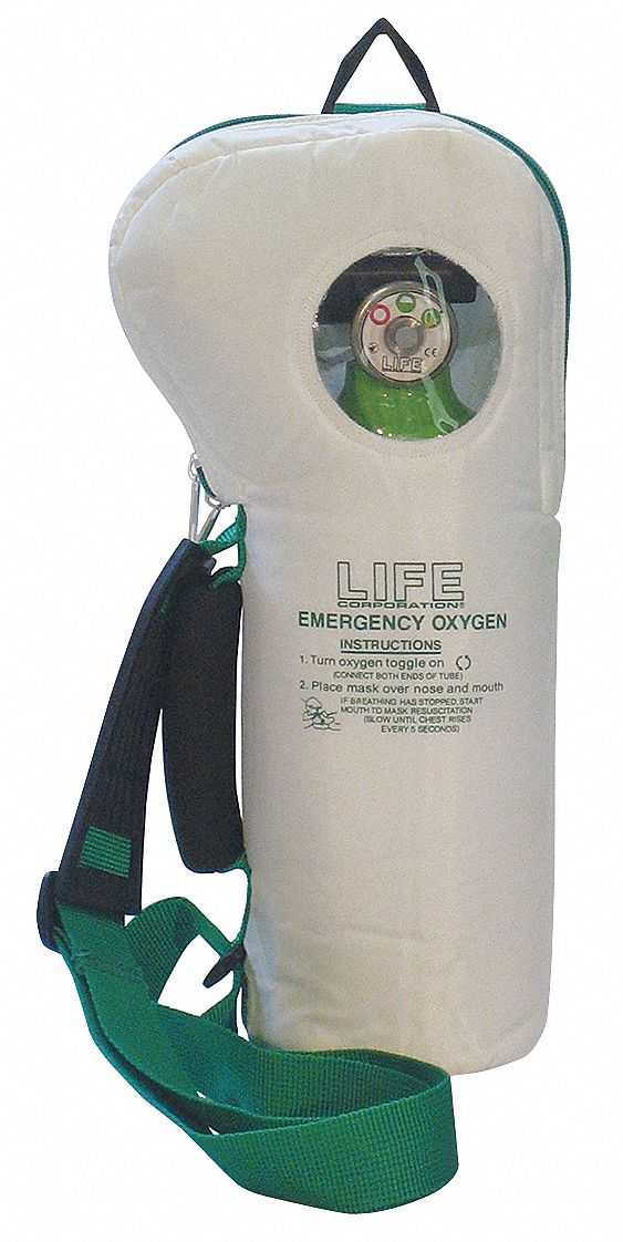 250 L Emergency Oxygen Unit with 6 Lpm Flow Rate; Includes Regulator, Mask, Hose, Bag
