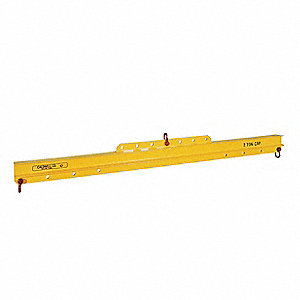 "Adjustable Lifting/Spreader Beam, 1000 lb., Max. Spread 72"", Min. Spread 36"", Headroom 8"""