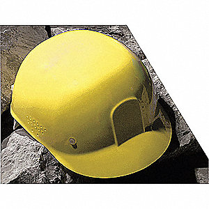 Yellow Polyethylene Bump Cap, Style: Front Brim, Fits Hat Size: One Size Fits All