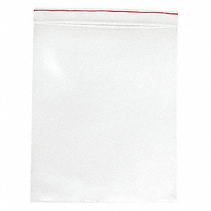"Reclosable Bag, Zipper Seal, 4 mil, Clear LDPE and LLDPE, Width 13"", Length 18"", 500 PK"