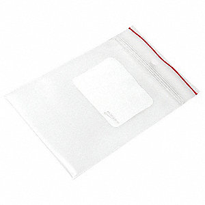 "5""L x 3""W Standard Reclosable Poly Bag with Zip Seal Closure, Clear; 4 mil Thickness"