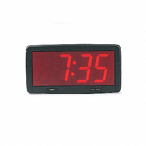 LED Clock,Black with Red Display