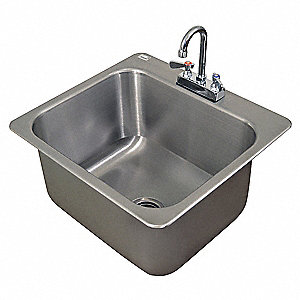 Drop-In Sink w/ Faucet,23 In. L,12 In. H