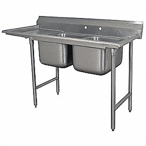 Stainless Steel Scullery Sink with Left Drain Board, Without Faucet, 18 Gauge, Floor Mounting Type