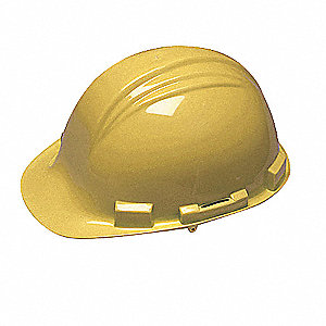 Front Brim Hard Hat, 4 pt. Ratchet Suspension, Yellow, Hat Size: One Size Fits Most