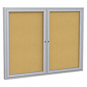 "Indoor Enclosed Bulletin Board, Cork, Natural Board Color, 60"" Width, 48"" Height"