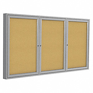 "Indoor Enclosed Bulletin Board, Cork, Natural Board Color, 72"" Width, 36"" Height"
