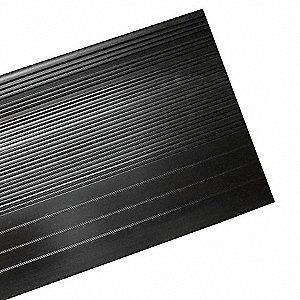 "Black, Vinyl Stair Tread Cover, Installation Method: Adhesive, Square Edge Type, 48"" Width"