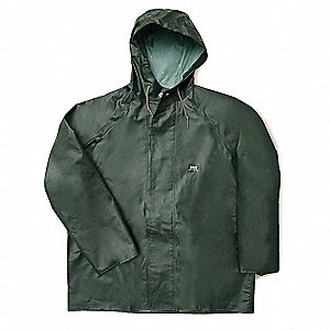 "Men's Green PVC Rain Jacket with Hood, Size L, Fits Chest Size 42"" to 44"""