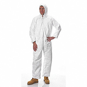 Hooded Disposable Coveralls with Open Cuff, White, L, Tyvek®