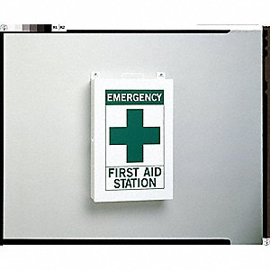 Empty First Aid Cabinet,Steel,White/Grn