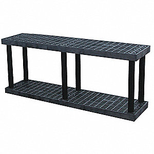 "66"" x 16"" x 48"" Plastic Bulk Storage Rack Starter Unit, Black&#x3b; Number of Shelves: 2"