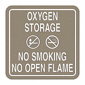 No Smoking Sign,5-1/2 x 5-1/2In,WHT/Tan