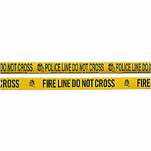Barricade Tape w/Reel,Yellow/Blk,1000 ft
