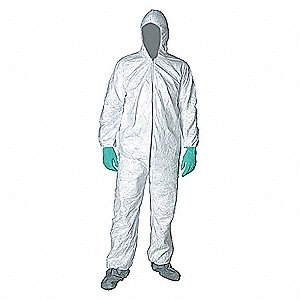 Collared Disposable Coveralls with Elastic Cuff, White, M, Tyvek®