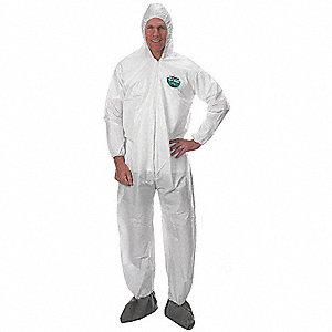 Hooded Disposable Coveralls with Elastic Cuff, MicroMax® NS Material, White, L