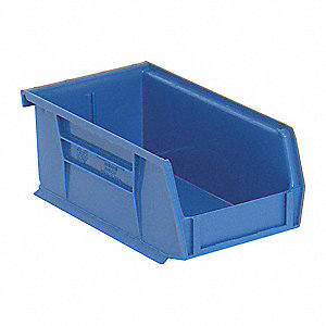 "Hang and Stack Bin, Blue, 7-3/8"" Outside Length, 4-1/8"" Outside Width, 3"" Outside Height"