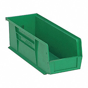 "Hang and Stack Bin, Green, 14-3/4"" Outside Length, 5-1/2"" Outside Width, 5"" Outside Height"
