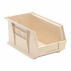 "Hang and Stack Bin, Ivory, 14-3/4"" Outside Length, 8-1/4"" Outside Width, 7"" Outside Height"