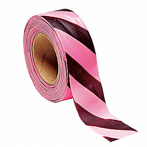 "Flagging Tape, Pink Glo/Black, 1-3/16"" x 150 ft., Diagonal Stripes"