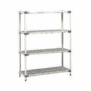"Freestanding Open Plastic Shelving, 60""W x 18""D x 63"" Load Cap., 4 Shelves, Blue/Taupe"