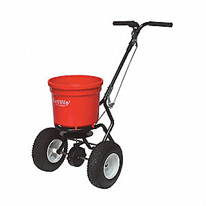 Broadcast Spreader, 50 lb. Capacity, Pneumatic Wheel Type, 3 Hole Drop Type, Adjustable T-Bar Handle