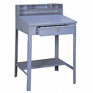 "34-1/2"" x 29"" x 53"" 14 ga. Steel Open Foreman's Desk, Medium Gray"