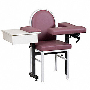 "Blood Draw Chair, Black, Seat Depth 16"", Seat Width 17"", Seat Height 20"""