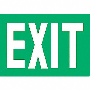 Exit Sign,7-3/8 x 12In,Glow/GRN,Exit,ENG