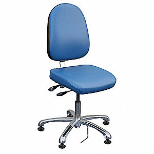"Vinyl ESD Task Chair with 17"" to 22"" Seat Height Range and 300 lb. Weight Capacity, Royal Blue"