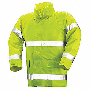 "Men's Hi-Visibility Yellow/Green PVC Rain Jacket, Size 4XL, Fits Chest Size 60"" to 62"", 32"" Jacket L"