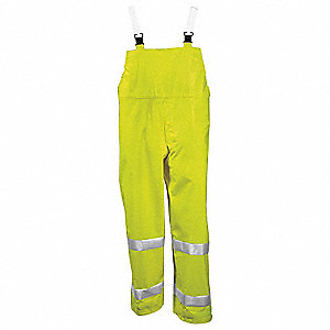Flame Resistant Rain Bib Overall, PPE Category: 0, High Visibility: Yes, Polyester, PVC, 3XL, Yellow