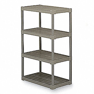 "Freestanding Open Plastic Shelving, 36""W x 18""D x 50"" Load Cap., 4 Shelves, Oyster"