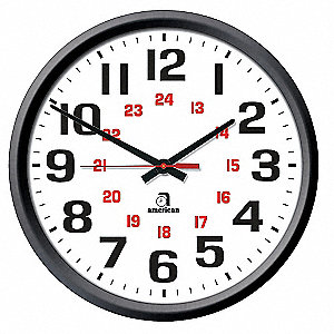 "13-1/8"" Wall Mount 24 Hour Face Clock, Black"