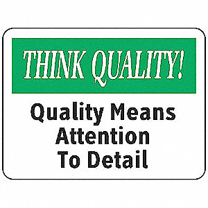 Quality Control Sign,7 x 10In,ENG,Text