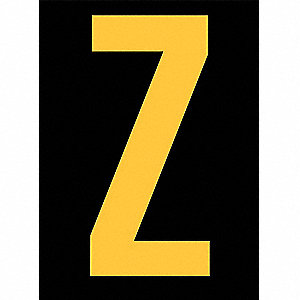 "Reflective Letter Label, Z, Reflective Yellow on Black, 2-1/2"" Character Height, 25 PK"