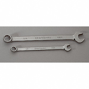 "1-1/2"" Combination Wrench, SAE, Full Polish, Number of Points: 12"