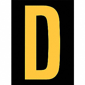 Reflective Letter Label,D,2-1/2in H,PK25
