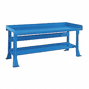 "Workbench, Steel Frame Material, 96"" Width, 36"" Depth  Steel Work Surface Material"